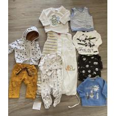 Paket Baby Jungs Gr. 68 Pulli, Langarmshirt, Pyjama, Schlafsack, Weste, Jacke