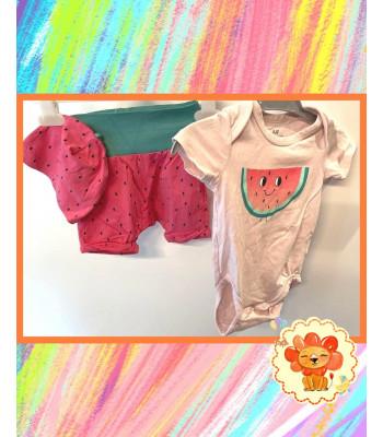 Set Body, Shorts und Mütze Gr. 62 Mädchen Flohmarkt